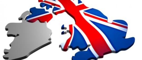 Immagine della Gran Bretagna colorata con la bandiera nazionale