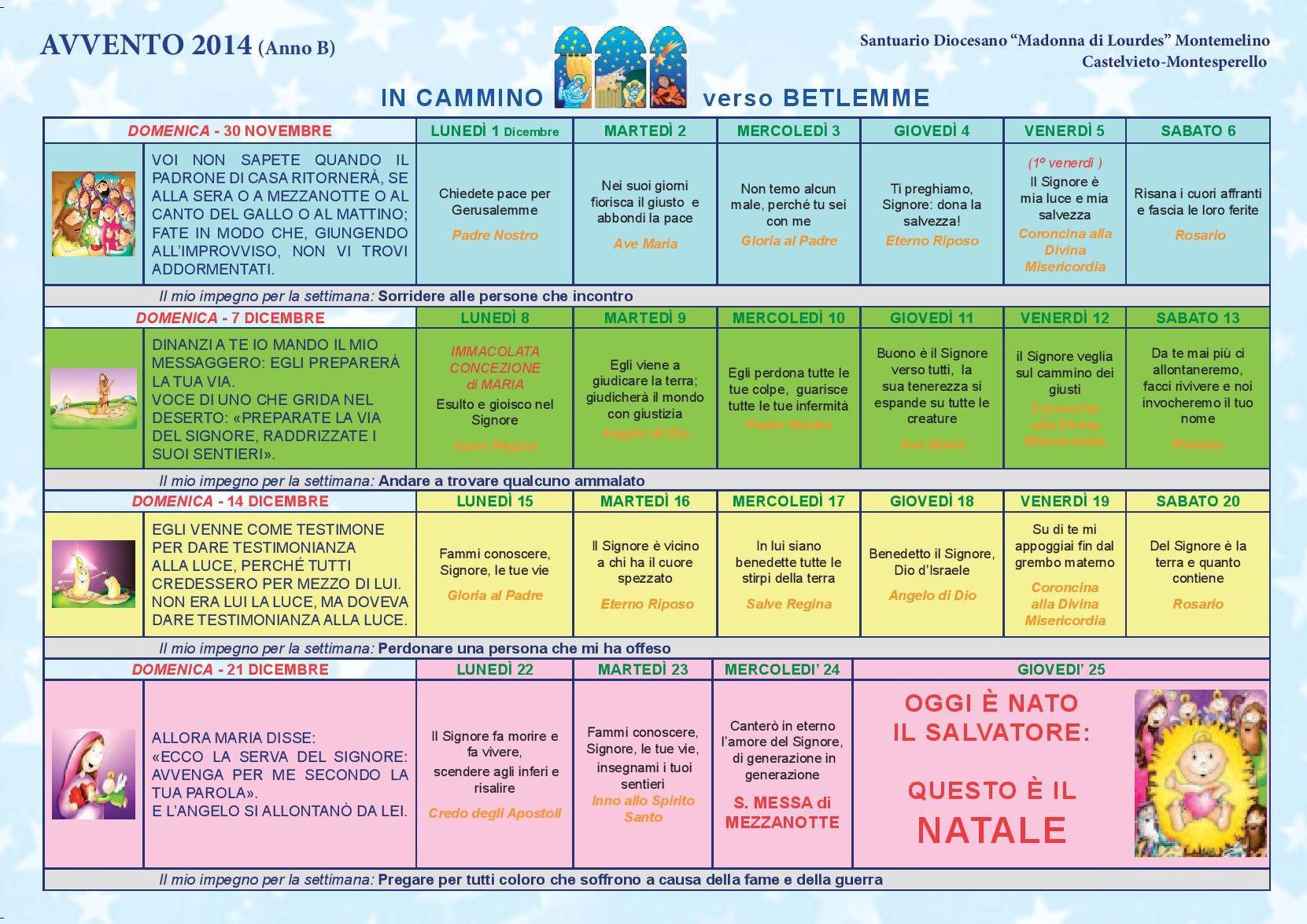 Calendario Cattolico.Avvento Anno B In Cammino Verso Betlemme Parrocchia Don Bosco