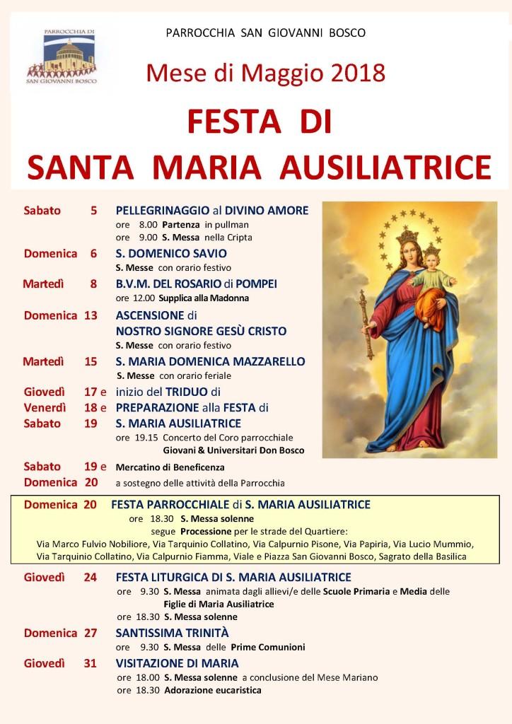 FESTA di MARIA AUSILIATRICE e MESE di MAGGIO 2018