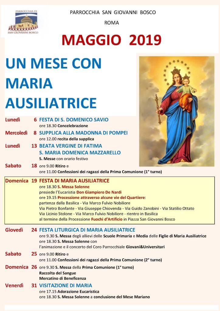 FESTA di MARIA AUSILIATRICE e MESE di MAGGIO 2019